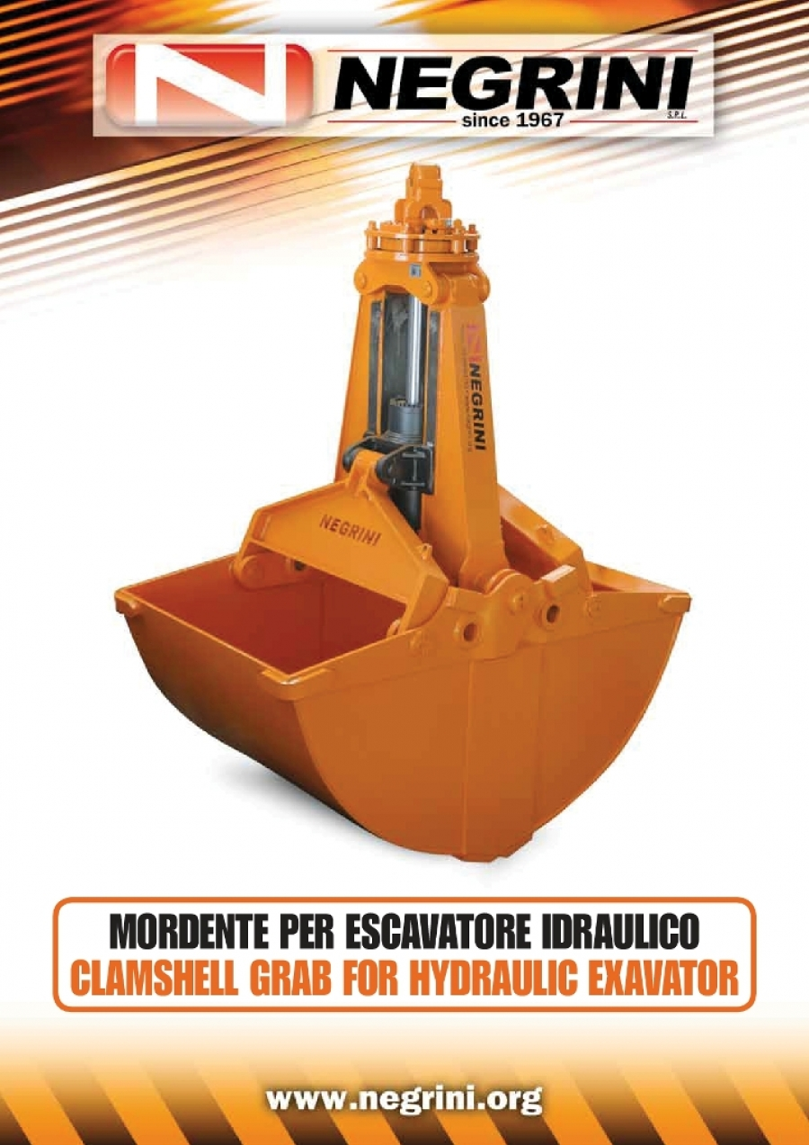 Clamshell grab for hydraulic excavator